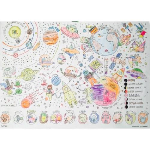 mural para colorear del sistema solar