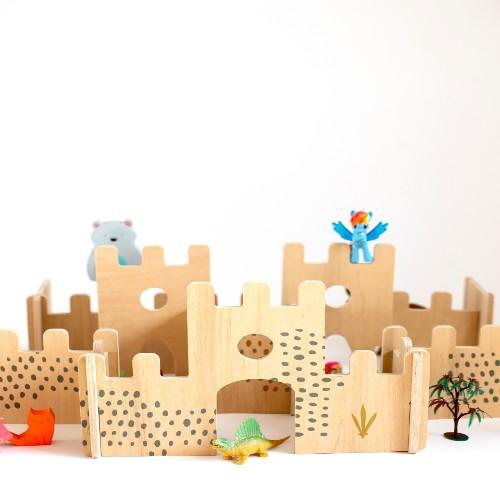 set castillo de madera juguete didactico