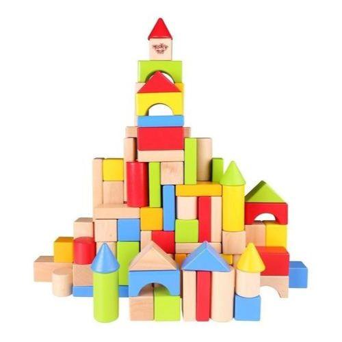 Balde con 100 bloques de madera - juguetes didacticos