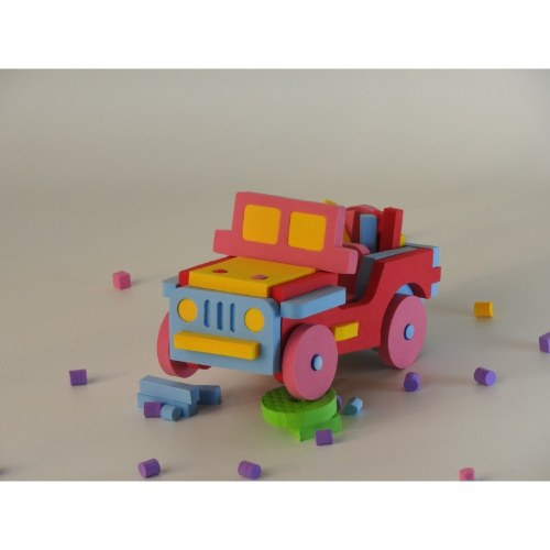 rompecabezas 3d goma eva forma de jeep